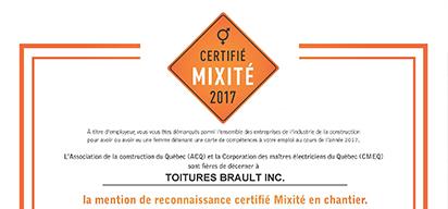 Certificat mixité 2017 de l'ACQ